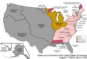 Map of the USA in 1784