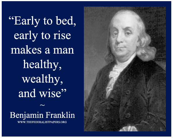 Benjamin Franklin Poster, Early to bed, Early to rise