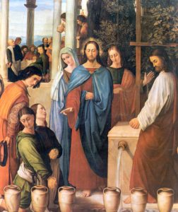 Conversion of water into wine at the marriage in Cana