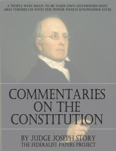 """""""Commentaries on the Constitution of the United States"""" by Joseph Story book cover"""