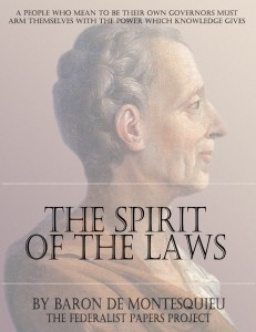 "The Spirit of the Laws"" by Baron de Montesquieu Book Cover"