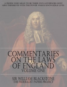 """Commentaries on the Laws of England - Volume One "" by Sir William Blackstone Book Cover"