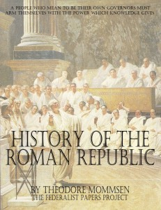 """The History of the Roman Republic"" by Theodore Mommsen book cover"