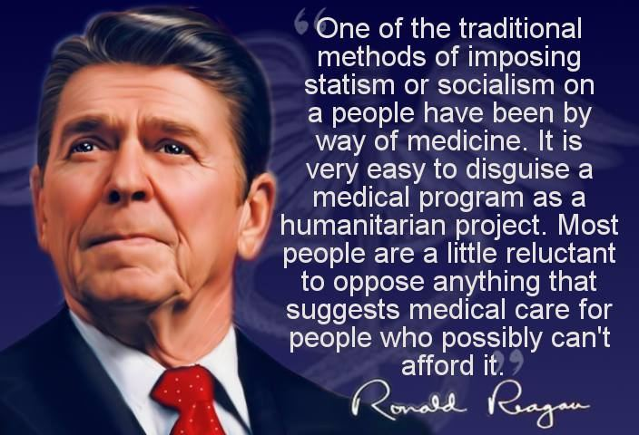 But at the moment I'd like to talk about another way because this threat is with us and at the moment is more imminent. One of the traditional methods of imposing statism or socialism on a people has been by way of medicine. It's very easy to disguise a medical program as a humanitarian project. . . . Now, the American people, if you put it to them about socialized medicine and gave them a chance to choose, would unhesitatingly vote against it. We have an example of this. Under the Truman administration it was proposed that we have a compulsory health insurance program for all people in the United States, and, of course, the American people unhesitatingly rejected this. Ronald Reagan Speaks Out Against Socialized Medicine (recording (1961)