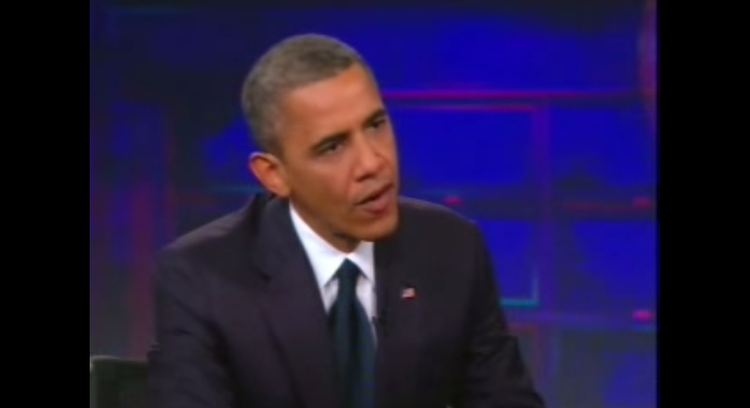 Jon Stewart interviews Obama 2012 youtube screenshot