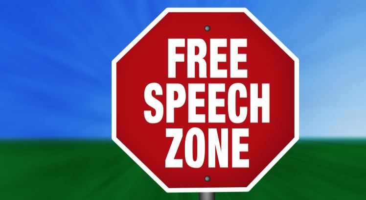 free speech zone sign