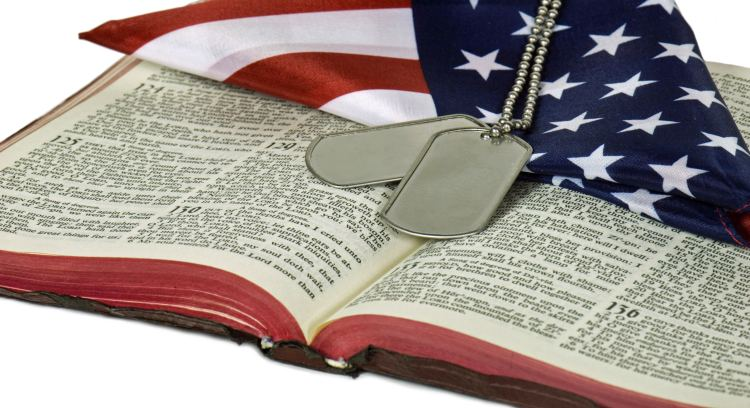 dog tags with flag and Bible