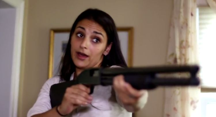 Image result for angry woman holding shotgun