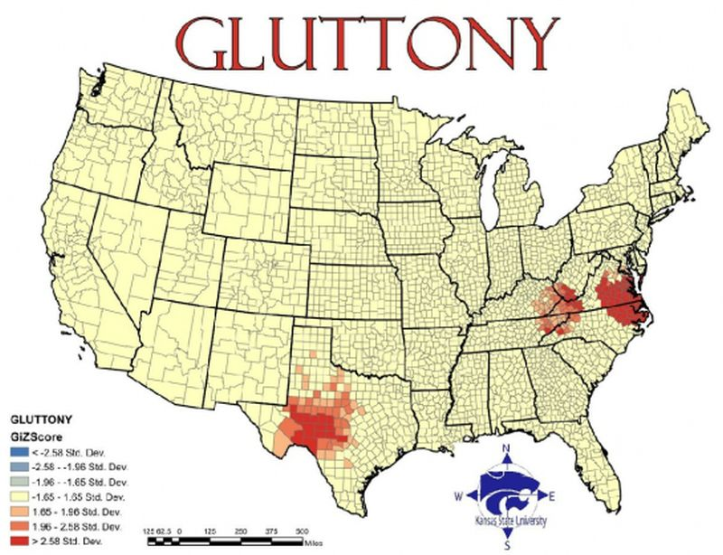 Seven Deadly Sins Map Where Does Your State Fall