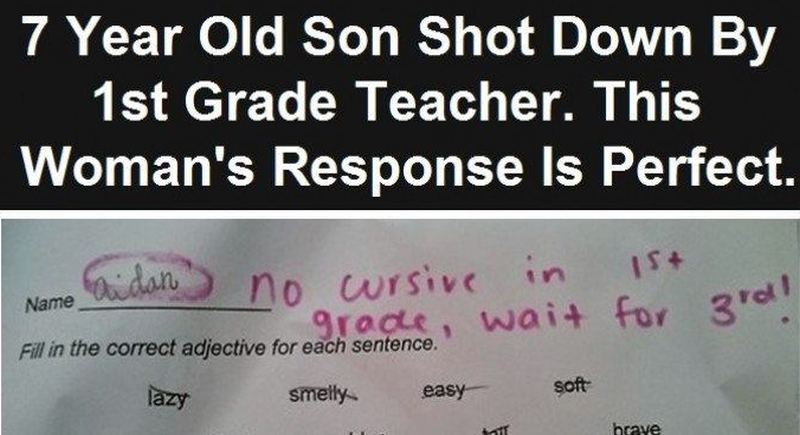 first grader is told not to do cursive until third grade
