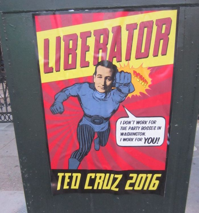 ted cruz posters popping up all over san francisco