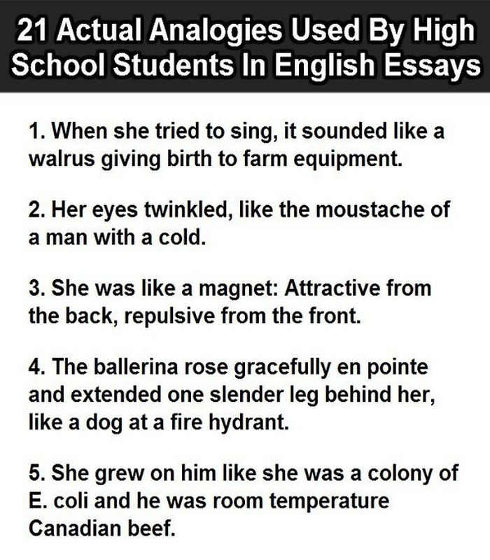 Compare And Contrast Essay Topics For High School  Sample Narrative Essay High School also High School Persuasive Essay  Actual Analogies Used By Students In English Essays Essay Writing Format For High School Students