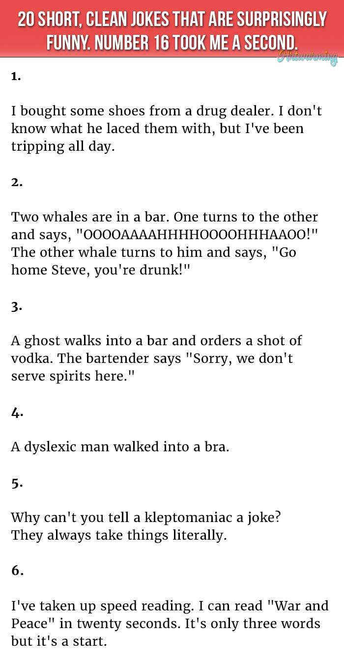 20 <b>Short</b>, <b>Clean Jokes</b> That Are Surprisingly Hilarious