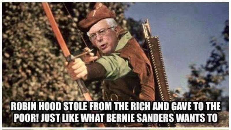 Meme Disproves Comparison of Bernie Sanders to Robin Hood