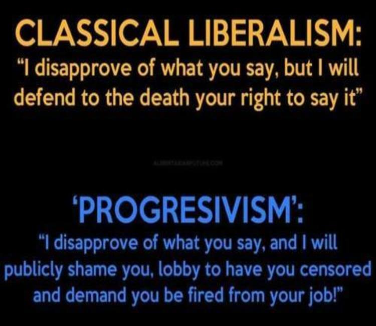 Image result for difference between classical liberal and progressive