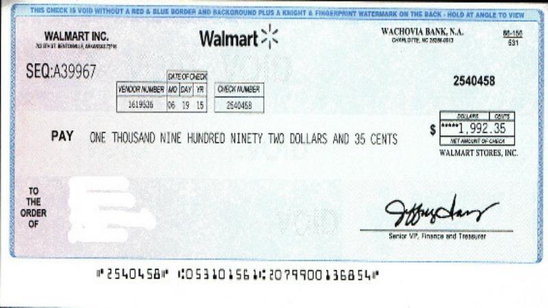 writing checks at walmart