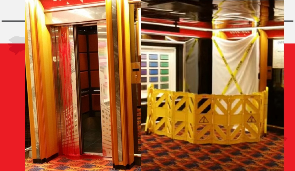 Passengers HORRIFIED after BLOOD seeps out of Elevator