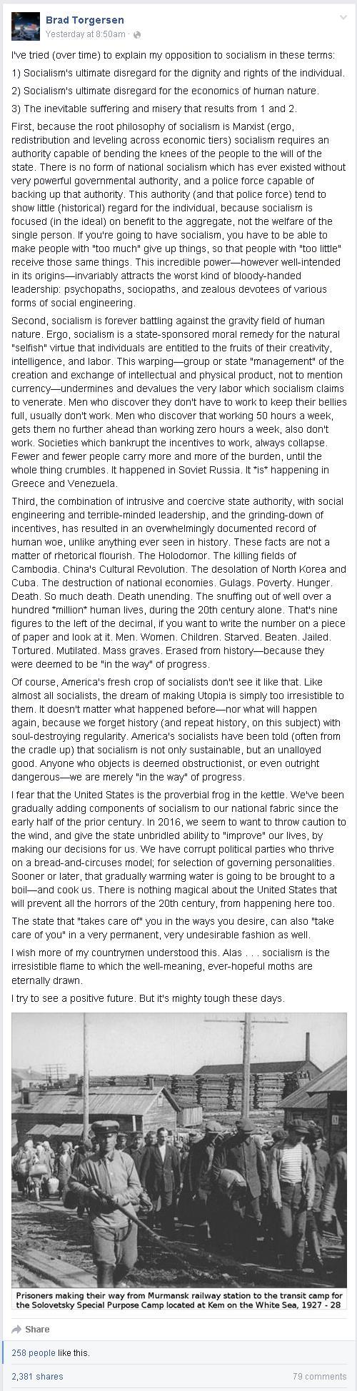 Brad Torgersen Explains Socialism