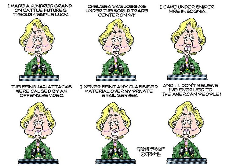 evolution of hillary clinton over the years on lying cartoon