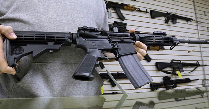 AR15 rifles on wall