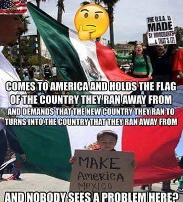 Waving Mexican flags at Trump rallies