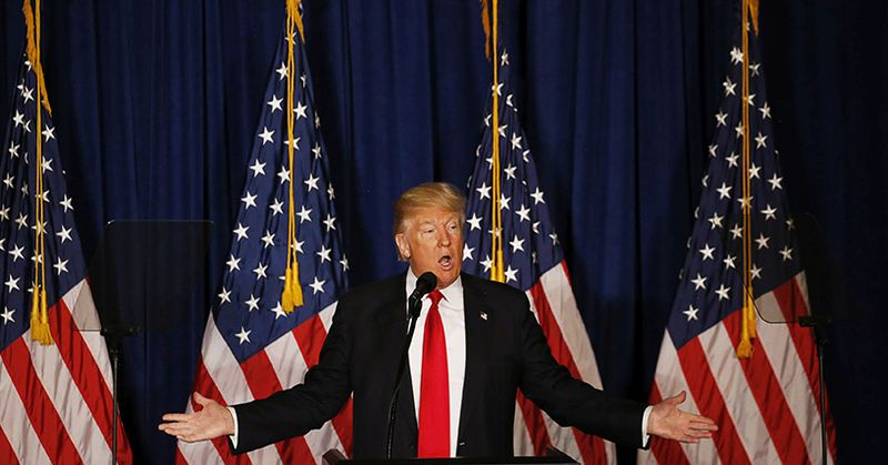 Republican U.S. presidential candidate Donald Trump delivers a foreign policy speech at the Mayflower Hotel in Washington, United States, April 27, 2016.  (Jim Bourg/Reuters)