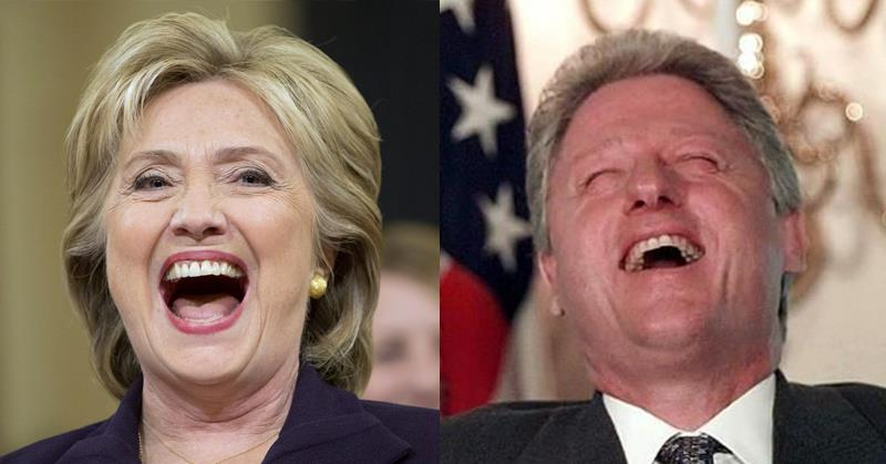 Bill and Hillary Clinton Laughing 2