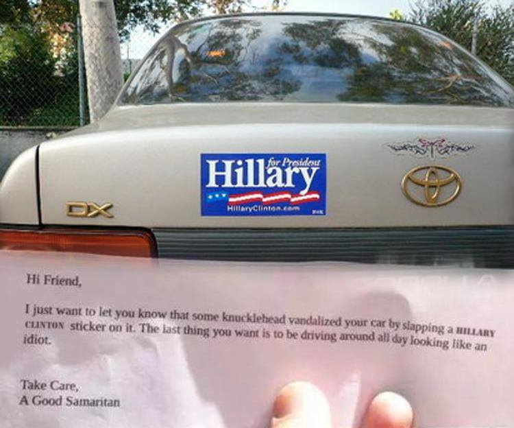 Hilarious what to do when you see a hillary bumper sticker