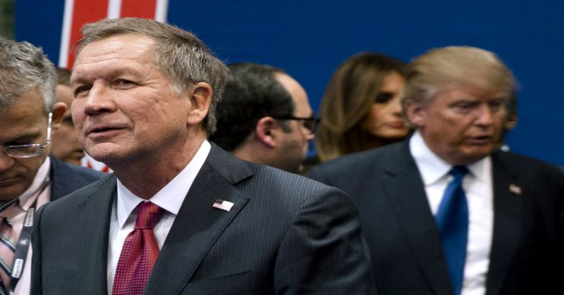 FILE - In this Feb. 6, 2016, file photo, Ohio Gov. John Kasich, left, and Donald Trump, right, speak to reporters after a Republican presidential primary debate hosted by ABC News at Saint Anselm College in Manchester, N.H. Out of the presidential race doesn't mean out of national ticket consideration for Kasich, and Ohio's two U.S. senators are also being discussed as potential running mates for their party nominees. (AP Photo/Matt Rourke, File)
