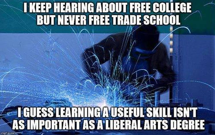 how liberals view college vs trade school is why trump won