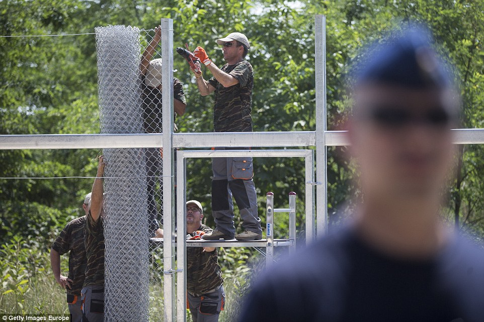 Hungary's border fence with Syria is meant to block Refugees.