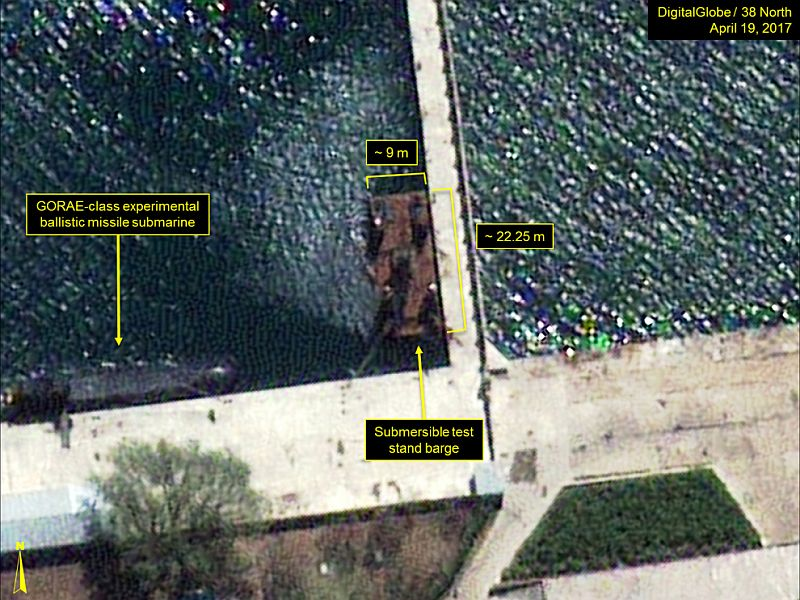 38North: Submersible test stand barge seen at the Sinpo South Shipyard.