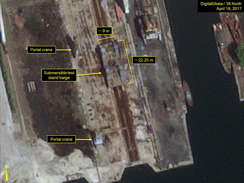 38North: A second submersible test stand barge seen on same day at the Nampo Naval Shipyard.