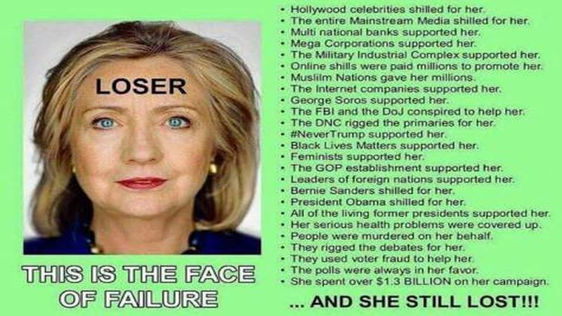 25 reasons hillary is the biggest loser in american history