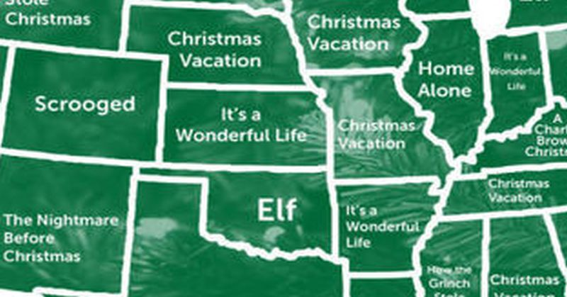 map most popular christmas movie in every state